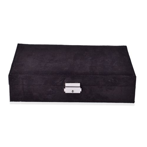 Multi Tier- Valvet Box with Removable Tray for Rings(70-80) and Earrings, Slot for Necklaces, Watches and Other Jewellery. (Size 28x19x6.5 Cm) - Black