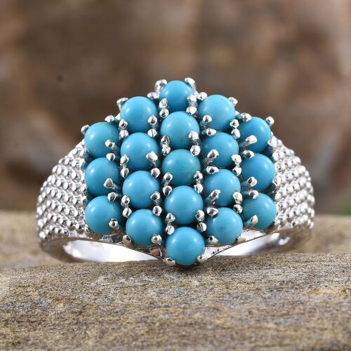 Arizona Sleeping Beauty Turquoise (Rnd) Cluster Ring in Platinum Overlay Sterling Silver 2.250 Ct.