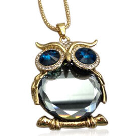 Creature Couture - Owl Pendant with Chain (Size 16 with 2 inch Extender) in Gold Tone with Austrian Crystal and Glass