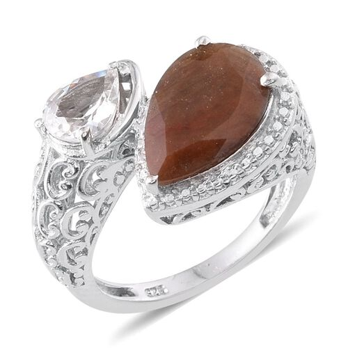 Chocolate Sapphire (Pear 4.00 Ct), White Topaz Ring in Platinum Overlay Sterling Silver 4.750 Ct.