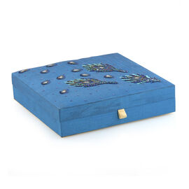 Peacock Feather Embroidered Blue Colour Stackable 100 Slot Ring Jewellery Box (Size 26x26x6 Cm)