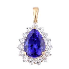 ILIANA 18K Y Gold AAA Tanzanite (Pear 5.50 Ct), Diamond Pendant 6.500 Ct.