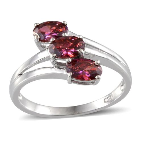 J Francis - Platinum Overlay Sterling Silver (Ovl) Trilogy Ring Made with Red SWAROVSKI ZIRCONIA 1.290 Ct.
