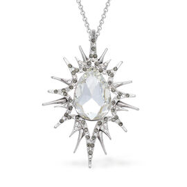 White Glass, White and Grey Austrian Crystal Pendant With Chain in Silver Tone with Stainless Steel