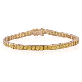 9K Y Gold AA Yellow Sapphire (Sqr) Tennis Bracelet (Size 7.5) 12.000 Ct.