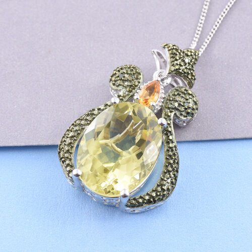 Natural Green Gold Quartz (Ovl), Citrine and Green Diamond Pendant With Chain in Platinum Overlay Sterling Silver 8.500 Ct.