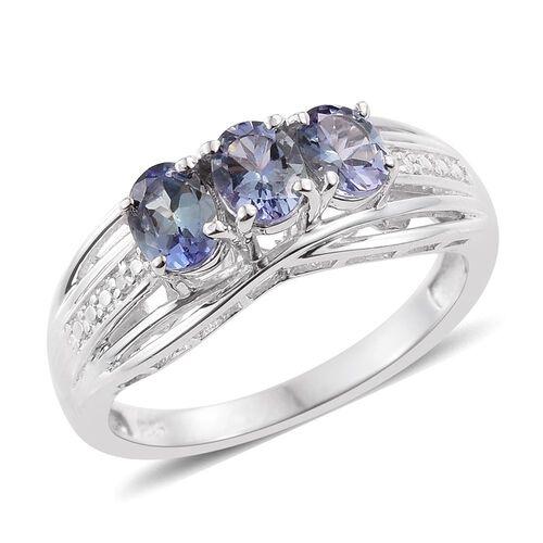 Bondi Blue Tanzanite (Ovl), Diamond Ring in Platinum Overlay Sterling Silver 1.010 Ct.