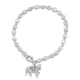 Horse Goodluck Charm Silver Bracelet in Platinum OverlaySize 7.5, Silver wt 7.02 Gms.