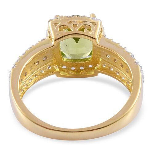 AA Hebei Peridot (Cush 2.00 Ct), White Topaz Ring in Yellow Gold Overlay Sterling Silver 3.400 Ct.