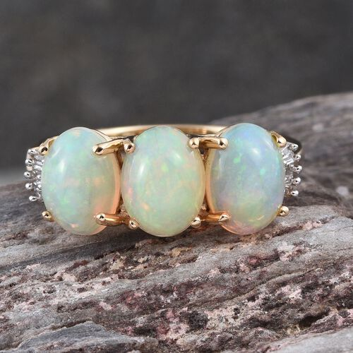 ILIANA 18K Y Gold Ethiopian Welo Opal (Ovl), Diamond Ring 2.500 Ct.