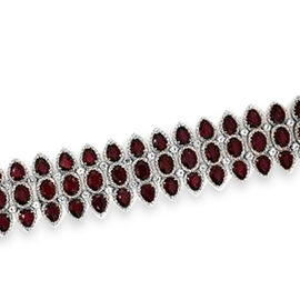 AAA African Ruby (Ovl), White Topaz Bracelet (Size 8) in Rhodium Plated Sterling Silver 65.520 Ct.