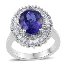 ILIANA 18K W Gold AAA Tanzanite (Ovl 5.25 Ct), Diamond Ring 6.000 Ct.