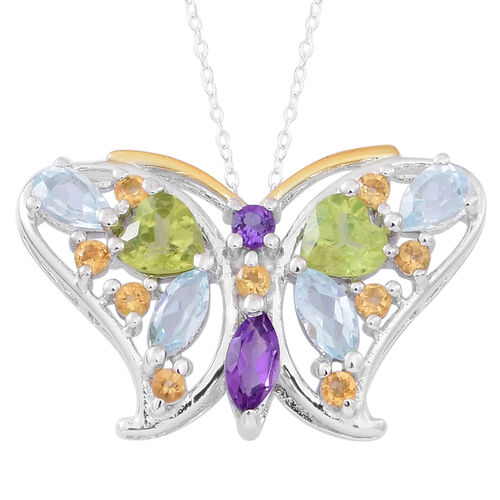 Limited Edition - Hebei Peridot (Hrt), Sky Blue Topaz, Amethyst and Citrine Butterfly Pendant with Chain (Size 18) in Rhodium Plated Sterling Silver 2.500 Ct.