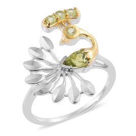 Hebei Peridot (Pear) Peacock Ring in Platinum Overlay Sterling Silver.