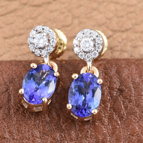 ILIANA 18K Yellow Gold AAA Tanzanite (Ovl), Diamond (SI G-H) Earrings (with Screw Back) 1.750 Ct.