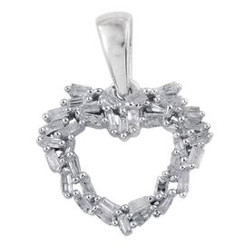 Diamond (Bgt) Heart Pendant in Platinum Overlay Sterling Silver 0.250 Ct.
