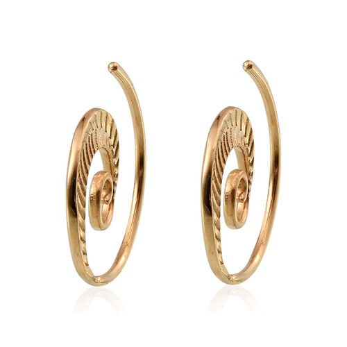 14K Gold Overlay Sterling Silver Spiral Earrings, Silver wt 4.61 Gms.