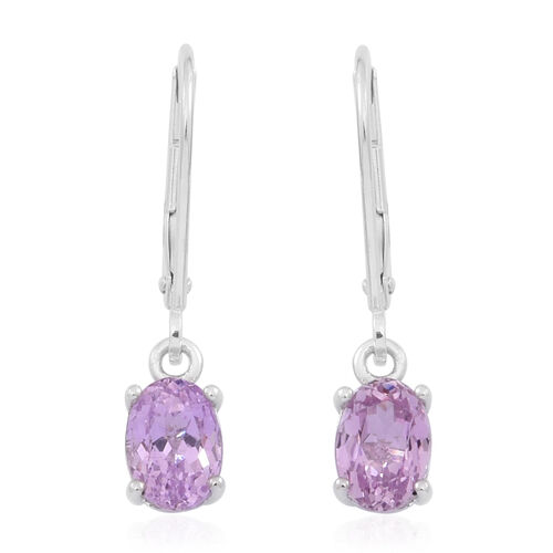9K W Gold AAA Urucum Kunzite (Ovl) Lever Back Earrings 2.250 Ct.
