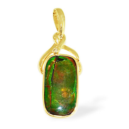 One of a Kind 14K Y Gold Canadian Ammolite, Diamond Pendant 6.940 Ct.