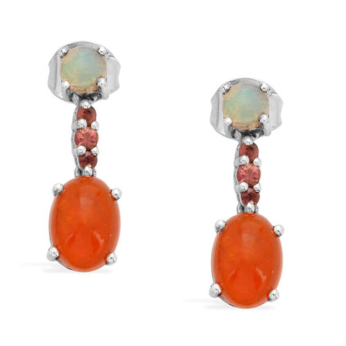 Orange Ethiopian Opal (Ovl), Ethiopian Welo Opal and Orange Sapphire Earrings in Platinum Overlay Sterling Silver 1.750 Ct.