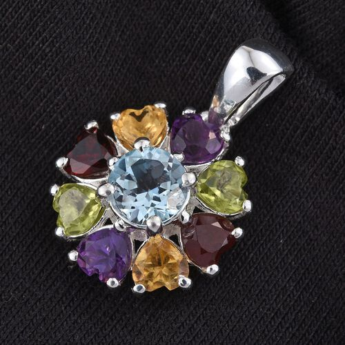 Sky Blue Topaz (Rnd 1.00 Ct), Mozambique Garnet, Hebei Peridot, Amethyst and Citrine Pendant in Sterling Silver 3.000 Ct.