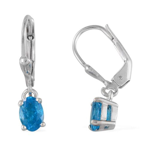 Malgache Neon Apatite (Ovl) Lever Back Earrings in Platinum Overlay Sterling Silver 1.150 Ct.