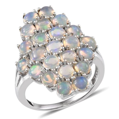 Ethiopian Welo Opal (Rnd) Cluster Ring in Platinum Overlay Sterling Silver 3.000 Ct.