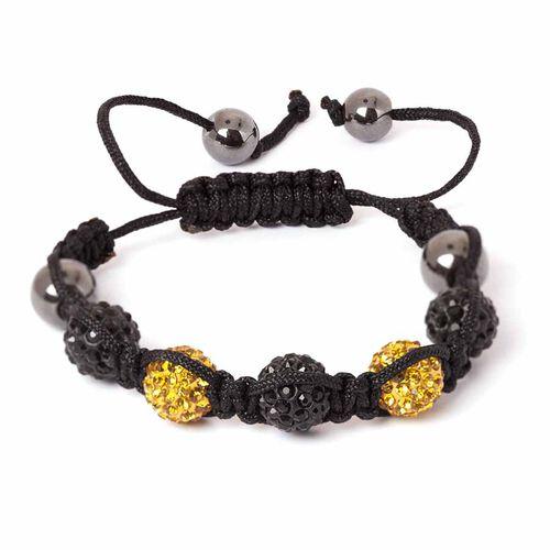 Hematite, Black and Golden Austrian Crystal Friendship Bracelet (Adjustable)