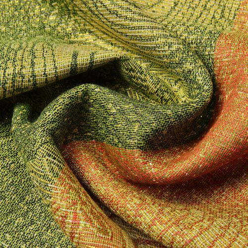 Paisley and Water Wave Pattern Yellow, Green and Red Colour Scarf (Size 170x70 Cm)