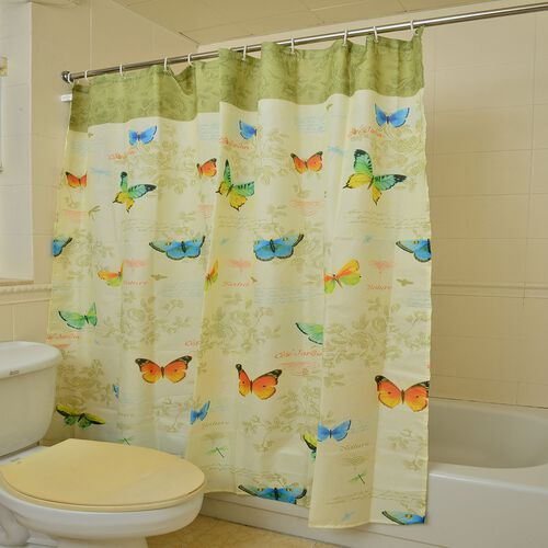 Yellow, Red, Blue and Multi Colour Butterfly and Leaves Printed Light Lemon Colour Waterproof Shower Curtain with 12 Plastic Hooks (Size 180x180 Cm)