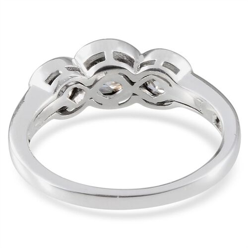 J Francis - Platinum Overlay Sterling Silver (Rnd) 3 Stone Ring Made With SWAROVSKI ZIRCONIA 2.350 Ct.