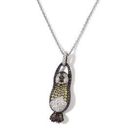 AAA Simulated Multi Colour Diamond Penguin Pendant With Chain in Black Tone with Stainless Steel