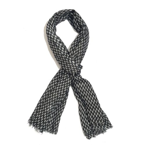 Black and White Colour Ikat Pattern Scarf (Size 180x70 Cm)