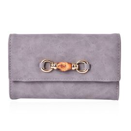 Manhattan Bamboo Design Elegant Grey Long Wallet (Size 17x10x2.5 Cm)