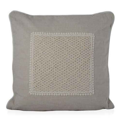 (Option 3) Beige Colour Net Patch Work Cushion (Size 43x43 Cm)
