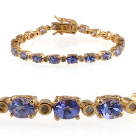 AA Tanzanite (Ovl), Diamond Bracelet in 14K Gold Overlay Sterling Silver (Size 8) 7.400 Ct.