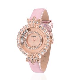 STRADA Floating Austrian Crystal Floral Design Watch - Pink
