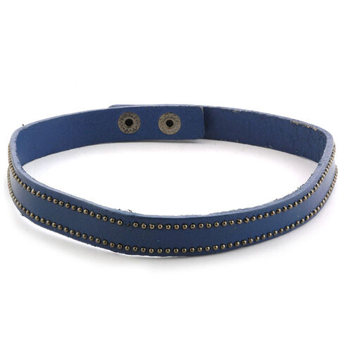 Blue Genuine Leather Bracelet (Size 8)