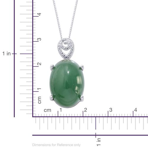 Emerald Quartz (Ovl 12.75 Ct), Diamond Pendant With Chain in Platinum Overlay Sterling Silver 12.760 Ct.