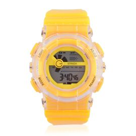 STRADA Electronic Movement 7 Colour Flashing LED Yellow Colour Watch with Stainless Steel Back and Yellow Silicone Strap