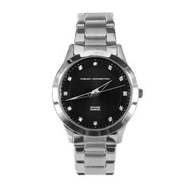 French Connection Black Dial Bracelet Watch With Silver Tone Strap