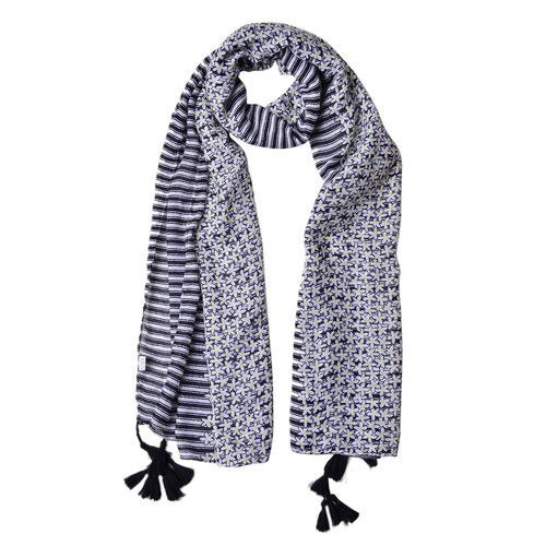 Black and Yellow Colour Floral and Stripes Pattern Scarf with Tassels (Size 180X90 Cm)