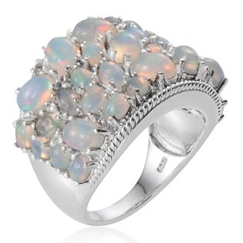 Ethiopian Welo Opal (Ovl), White Topaz Cluster Ring in Platinum Overlay Sterling Silver 7.900 Ct.