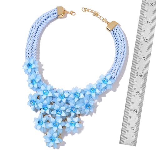 Simulated Sky Blue Topaz Floral Necklace (Size 18 with 2 inch Extender) in Yellow Gold Tone