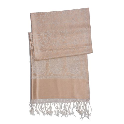 100% Superfine Silk Beige and Cream Colour Paisley and Floral Pattern Jacquard Jamawar Shawl with Fringes (Size 175x70 Cm) (Weight 125 - 140 Grams)