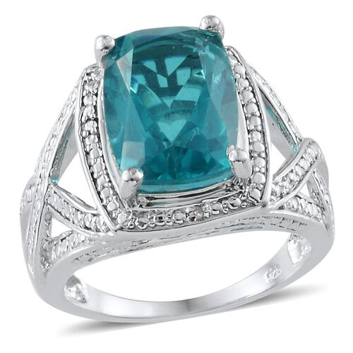 Capri Blue Quartz (Cush 7.75 Ct), Diamond Ring in Platinum Overlay Sterling Silver 7.760 Ct.