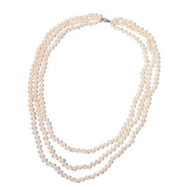 Designer Hand Knotted 9K W Gold AAA Japanese Akoya Pearl 3 Strand Necklace (Size 18-22-24 inch)