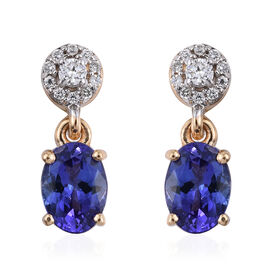 ILIANA 18K Yellow Gold AAA Tanzanite (Ovl 1.60 Ct), Diamond (SI G-H) Earrings (with Screw Back) 1.750 Ct.