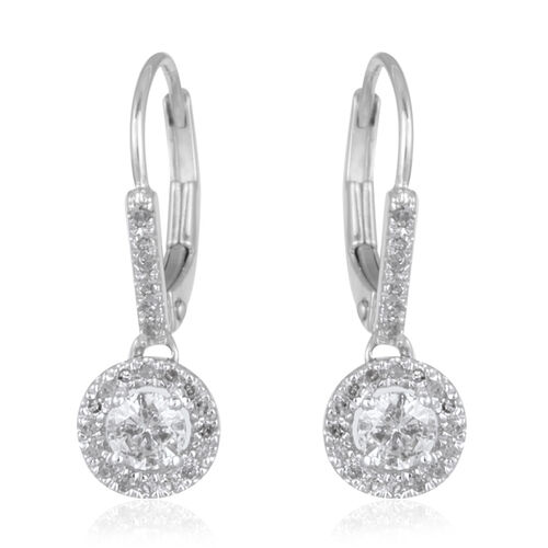 9K W Gold Diamond (Rnd) Lever Back Earrings 0.500 Ct.