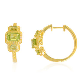 Hebei Peridot (Oct), White Topaz Hoop Earrings in Yellow Gold Overlay Sterling Silver 3.250 Ct.